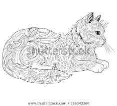 Cat Coloring Book Page Ethnic Decorative Stock Vector Royalty Free