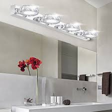 modern k9 led bathroom make up crystal mirror light round head stainless steel cabinet wall sconces lamp 90 260v vanity lighting in wall lamps from lights