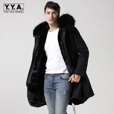adequate supply 2018 new black real fur collar hooded mens parka thicken warm fur lining winter