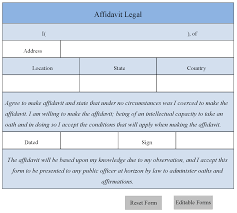 Legal Form Affidavit Legal Form Editable Forms 1