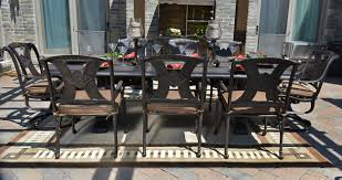 amalia 8 person luxury cast aluminum patio furniture dining set with swivel chairs