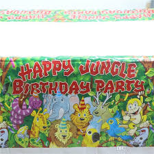 whole jungle lion and friends happy birthday party supplies plastic tablecover 1pcs cartoon table cloth