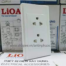 Mặt ổ cắm điện 3 chấu LiOA chính hãng - ổ cắm điện 2 ổ 3 chấu có chân nối  đất
