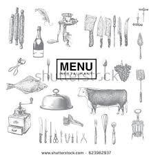 vintage kitchen utensils illustration. Delighful Illustration Hand Drawn Vintage Sketch Set Of Food And Drinks For Design The Menu  Kitchen In Vintage Utensils Illustration T