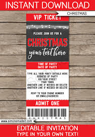 Invitation Ticket Template Extraordinary Christmas Chalkboard Ticket Invitations Template Editable Template