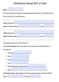 Free Oklahoma Boat Bill Of Sale Form Pdf Word Doc