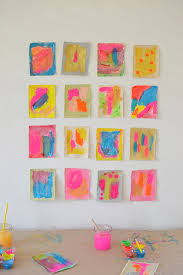 kids love painting on new materials here kids use tempera paints to create little works