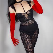 Velvet <b>Gloves 70cm</b> Extra Long Red Opera <b>Female</b> High Elastic ...