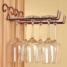 classical double rows wall wine goblet glass shelf stemware hanging rack holder for bar dining home