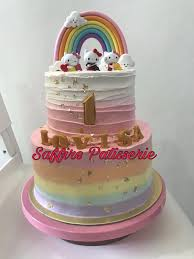 Ombré Hello Kitty Rainbow Two Tier Cake Birthday Baby Shower Food
