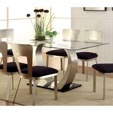 modern glass kitchen table. Fine Kitchen Furniture Of America Sculpture II Contemporary Glass Top Dining Table   Silver Intended Modern Kitchen N