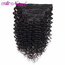 Brazilian Kinky Curly Clip In Human <b>Hair</b> Extensions <b>10 Pcs</b>/Set ...