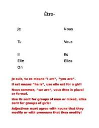 Etre Verb Chart Etre Verb Chart And Song Verb Chart Verb Song Verb Forms