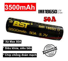 Bán Pin 18650 sạc 3.7v 3500mah BST dòng xả Cao 50A (1 viên) dùng cho box  sạc dự phòng, đèn pin, quạt sạc mini, mic Karaoke, pin laptop..... chỉ  75.000₫
