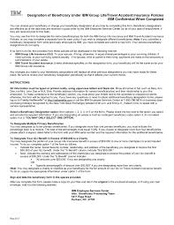 Insurance Designations Designation Of Beneficiary Under Ibm Group Life Travel