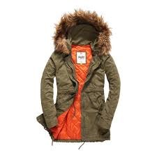 superdry rookie quilt lined parka coats army olive women s clothing superdry coats