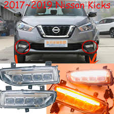 1set Bumper Fog Lamp For Kicks Daytime Light Led Drl 2018 2019year Daytime Running Light Rogue X Trail Fog Light Car Accessories