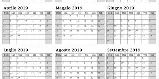 2019 Calendario Anno Stampabile In Excel Calendario Annuale 2019