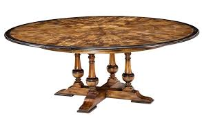 large expandable round to round solid walnut inlaid jupe table