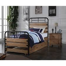 Adams Industrial Twin Bed with Optional Trundle Antique Oak