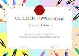 Kids Certificate Border Kids Diploma Or Certificate Template With Painting Stuff Border