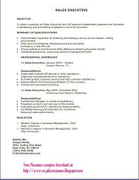 Awesome Collection Of Resume For Sales Executive Job Marvelous