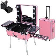 rolling studio makeup artist cosmetic case w 6x 40w light bulb adjule leg mirror cosmetic train