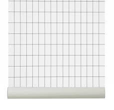 Ferm Living Behang Grid Zwartwit Papier 1005x053cm Goedkoopste