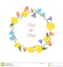 Spring Flower Template Spring Flowers Wreath Vector Illustration Wedding Design Template