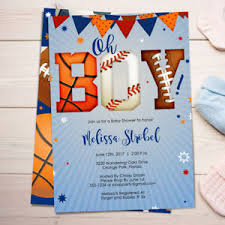 Details About Sports Baby Shower Invitations Boy Baby Shower Invites Sports All Star Theme