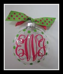 Preppy Monogrammed Christmas Ornament