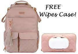 Itzy Ritzy Boss Diaper Bag Backpack - Blush + FREE Wipes Case