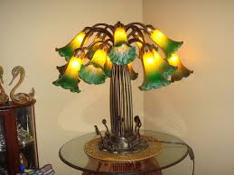 gorgeous style lily pad amber green stained glass lamp heavy