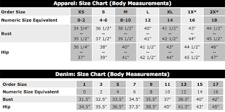 Size Chart Everly Grey