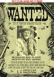 Old West Wanted Posters Hickock Deadwood Cowboy Western Earp