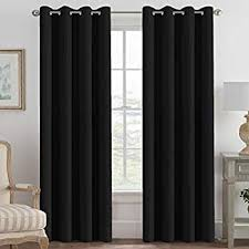 Black living room curtains Eyelet 100 Blackout Curtains For Patio Sliding Door Thermal Insulated Full Blackout Curtains For Bedroom Living Room Curtains 96 Inches Long Grommet Top Window Amazoncom Amazoncom Jinchan Blackout Thermal Backed Curtains For Living Room