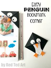 red ted art book easy penguin bookmark corner red ted art s of red ted