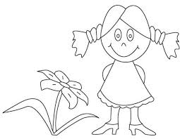 Small Picture Little Girl And Flower Coloring Pages Easy Flower Coloring Pages