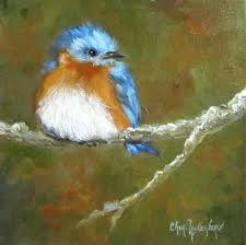 baby bluebird print from original oil painting by cheri wollenberg