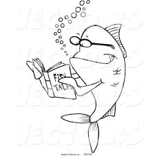 vector of a cartoon fish reading a story book coloring page outline