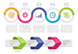 Infographic Chart Colorful Infographic Process Chart And Arrows With Step Up