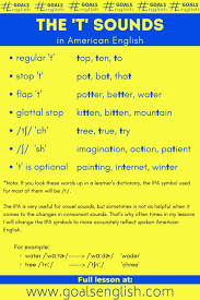 Where a brit would say th, an american often says something that sounds like a. What Is A Flap T Explanation Word Lists And Practice Sentences For American English Pronunciation Goals English