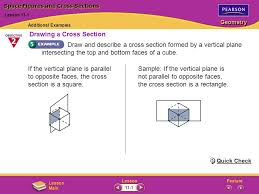 intersecting planes cube. space figures and cross sections intersecting planes cube