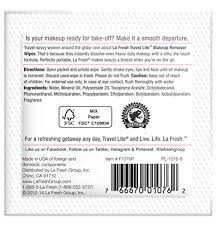 amazon la fresh makeup remover cleansing travel wipes natural biodegradable waterproof towelettes with vitamin e individually wrapped