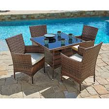 image modern wicker patio furniture. Suncrown Outdoor Furniture All-Weather Square Wicker Dining Table And Chairs  (5-Piece Image Modern Wicker Patio Furniture A