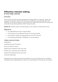 Minute Notes Template Best Photos Of Sample Of Minute Taking Taking Meeting Minutes 23