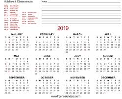 Calendar 2019 Printable With Holidays 20 Printable 2019 Calendar Templates