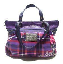 Coach Poppy 15886 Tartan Graffiti Purple Plaid Satchel Tote Shoulder Bag