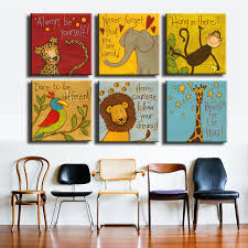 free shipping canvas painting oil painting 6 pieces set modern cartoon animals wall pictures kids on 6 piece wall art set with aliexpress buy free shipping canvas painting oil painting 6