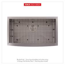 Dax Farmhouse Kitchen Sink 16 Gauge Stainless Steel Brushed Finish